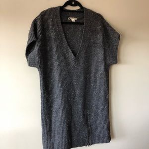 🌸RUFF HEWN GREY SPECKLED TUNIC DEEP V SWEATER🌸